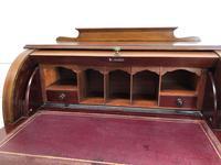 Antique Edwardian Mahogany Inlaid Cylinder Top Desk (4 of 14)