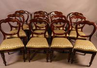 Set of 12 Victorian Mahogany Balloon Back Dining Chairs (8 of 10)