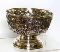 Small Edwardian Silver Bowl with Scrolls & Flowerheads - Birmingham 1909 (3 of 4)