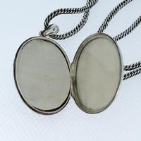 Antique Aesthetic Large Sterling Silver Locket with Long Curb Chain Necklace (8 of 11)