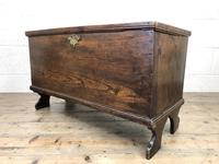 Small 18th Century Antique Elm Six Plank Coffer Chest (8 of 11)