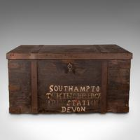 Antique Steamer Trunk, English, Pine, Iron, Carriage Chest, Victorian c.1860 (3 of 12)