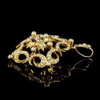 Antique Victorian Pearl Diamond Pendant Brooch 18ct Gold c.1900 (3 of 6)