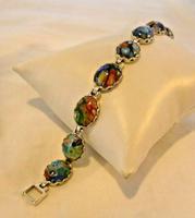 "Vintage Silver & Milliflori Glass Bracelet 1970s Length 7 3/4"" Heavy 23.7 Grams (5 of 12)"