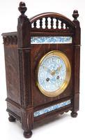 Fine Antique Arts & Crafts Mantel Clock – 8-day Carved Delftware Striking Mantle Clock (3 of 11)