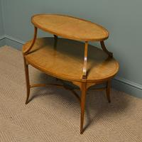 Quality Victorian Satinwood Two Tier Lamp Table (6 of 7)