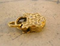 Victorian Pocket Watch Chain Fob 1890s Dainty Antique Gilt Miniature Padlock Fob (7 of 9)