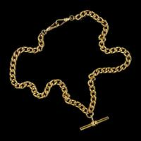 Antique Victorian Albert Chain Necklace 18ct Gold Gilt Sterling Silver c.1900 (5 of 5)