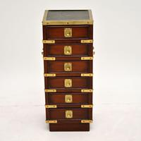 Antique Military Campaign Style Mahogany Miniature Chest of Drawers (2 of 12)