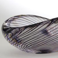 Mid Century Vicke Lindstrand Kosta Glass Bowl with Purple Spiral c.1950 (2 of 9)