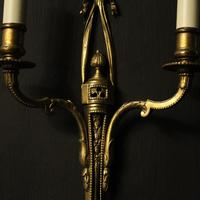 French Set of 4 Gilded Twin Arm Wall Lights (5 of 10)