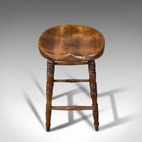 Antique Artist's Stool, English, Beech, Ash, Saddle Seat, Victorian c.1900 (8 of 12)