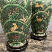 Pair of Bulbous Oriental Ceramic Lamps (5 of 7)