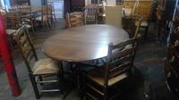 Titmarsh & Goodwin Oak Gateleg Table with 4 Ladder-backed Chairs (3 of 4)