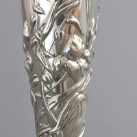 Art Nouveau Silver Repousse Bud Vase with Irises by William Comyns 1903 (2 of 8)