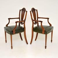 Pair of Antique Mahogany Shield Back Carver Armchairs (3 of 9)