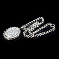Antique Aesthetic Large Sterling Silver Locket with Belcher Chain Collar (5 of 11)