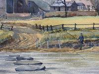 Caught One by R.Coleman 1971 A Trout Fishing Riverscape Watercolour Painting (4 of 13)