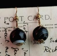 Antique Victorian Agate Drop Earrings, 9ct Gold (9 of 10)