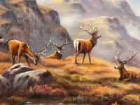 """Oil Painting Scottish Stags """"Denizens of the Highlands"""" Signed Wendy Reeves (10 of 45)"""