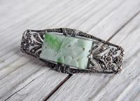Art Deco Silver and Jadeite Brooch with Marcasites,  1930s (4 of 7)