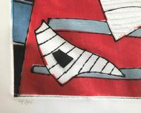 Original coloured etching 'Abstract shapes' by Henri Goetz 1909-1989. Signed and numbered 24/46 (3 of 3)