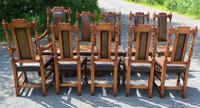1960's Oak Dining Suite with Refectory Table & Set 10 Chairs - 8+2 Carvers (6 of 9)