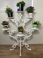 Victorian 19th Century Garden Cast Iron Painted White 6 Branch Plant Stand (39 of 47)