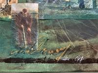 'Classical Golf' - Beautiful Signed Original 20thc Mixed Media Abstract Painting (4 of 11)