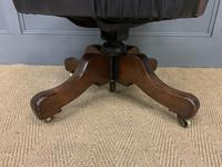 Victorian Mahogany & Leather Revolving Desk Chair (11 of 11)