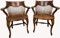 Superb Pair of Victorian Oak Captains Chairs