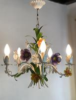 Vintage French 5 Arm Floral Toleware Chandelier (5 of 11)