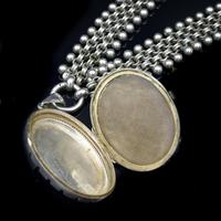 Antique Victorian Aesthetic Large Sterling Silver Locket and Collar Necklace (3 of 11)