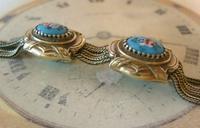 Antique Pocket Watch Chain 1880s Victorian Silver Nickel & Enamel Fancy Albert (8 of 11)