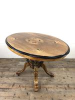 Victorian Walnut & Mixed Woods Inlaid Centre Table (9 of 11)