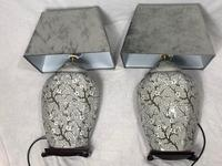 Pair Chinese Cantonese Porcelain Table Lamps With Shades Lighting Christmas Gift (4 of 51)