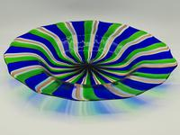 Rare Murano Glass XL Size Platter with Swirled Coloured Stripes (7 of 10)