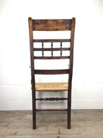 Antique Elm Spindle Back Armchair with Rush Seat (6 of 10)