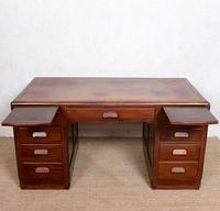 Desk Twin Pedestal Mahogany Leather Art Deco (5 of 12)