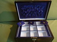 Inlaid Rosewood Jewellery Box + Tray. Plush Interior c 1845 (9 of 12)