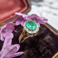 Vintage 18ct Gold Emerald & Diamond Cluster Ring (3 of 11)
