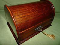 Compact Figured Oak Roll Top Stationery Box. c1900 (14 of 14)