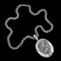 Antique Victorian Silver Turquoise Locket Necklace c.1880 (4 of 8)