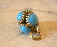 Georgian Pocket Watch Chain Fob 1830s Golden Gilt & Turquoise Dainty Ball Fob (5 of 7)