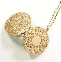 World War I Era Hallmarked Gold Locket 1915 on 17 Inch Chain (7 of 11)