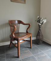 Beautiful Antique Solid Oak Captains Office Occasional Chair
