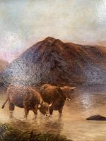 Antique Scottish landscape oil painting with Highland Cattle signed M Allinson 1 of 2 (6 of 10)