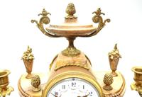Antique 8 Day French Ormolu & Marble Mantel Clock Set with 2 Branch Candelabras (5 of 10)