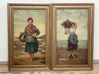"""Pair of Victorian Oil Paintings """"Cockle Pickers"""" Female Figures on Beach Shoreline (2 of 33)"""