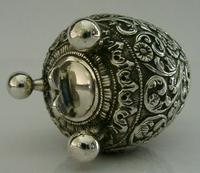 Stunning Indian Eastern Solid Silver Pepper Spice Pot Egg Shaped c.1880 (8 of 9)